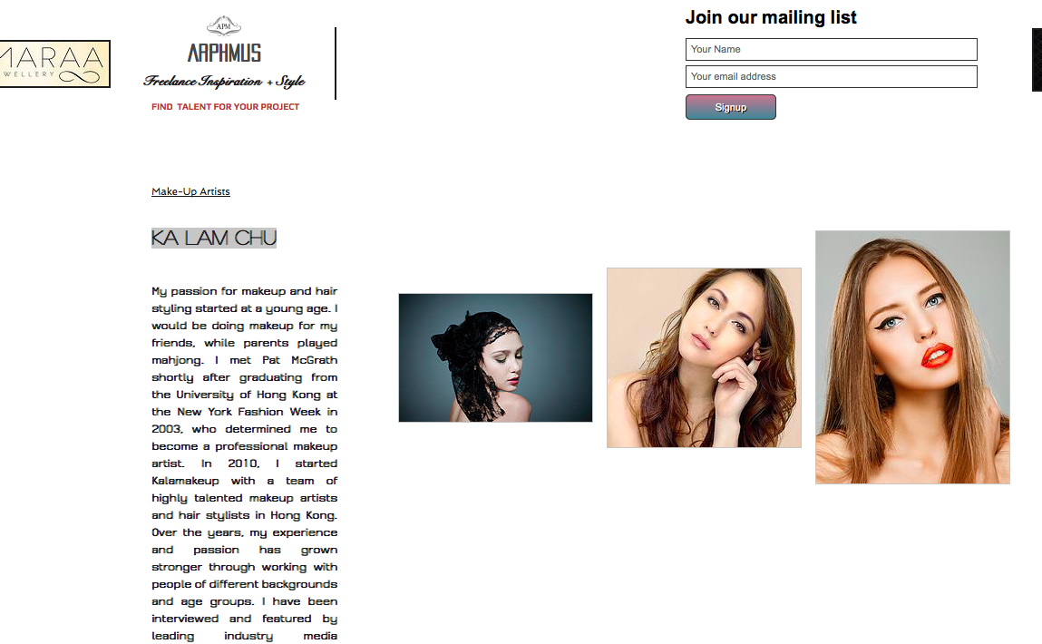 Freelance makeup website